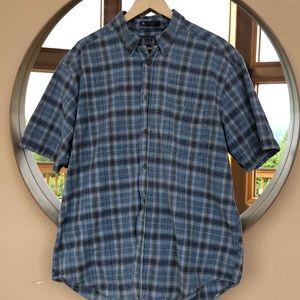 Blue men's plaid shirt